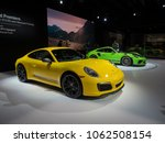 Small photo of NEW YORK, US - MARCH 28, 2018: Porsche 911 T and 911 GT3 RS with the Weissach package on display during the 2018 New York International Auto Show held at the Jacob K. Javits Convention Center.