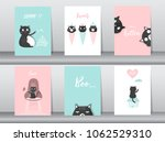 set of cute animals poster... | Shutterstock .eps vector #1062529310