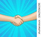 pop art retro handshake... | Shutterstock .eps vector #1062536150