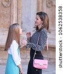 Small photo of Palma de Mallorca, Spain. April 4th, 2018. Spain Royals Queen Letizia with daughter princess Sofia attend an easter sunday mass in the Spanish island of Mallorca