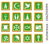 religion icons set vector green ... | Shutterstock .eps vector #1062543494