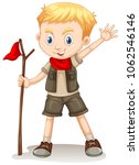 a cute boy scout on white... | Shutterstock .eps vector #1062546146