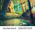 the fantasy forest moring by... | Shutterstock . vector #1062567329