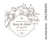 vector invitation with orchid... | Shutterstock .eps vector #1062586490