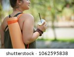 smiling obese woman looking... | Shutterstock . vector #1062595838