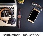 top view phone with headphone... | Shutterstock . vector #1062596729