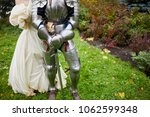 man dressed in suit of knight... | Shutterstock . vector #1062599348