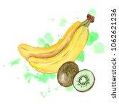 watercolor tropical fruits.... | Shutterstock . vector #1062621236