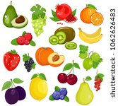 fruits and berries in cartoon...   Shutterstock .eps vector #1062626483