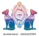 vintage egyptian cat with eye... | Shutterstock .eps vector #1062632504