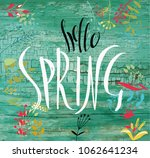 hello spring. lettering on the... | Shutterstock .eps vector #1062641234