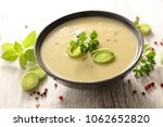 bowl of leek soup | Shutterstock . vector #1062652820