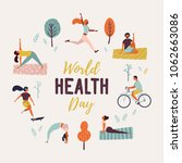 world health day. healthy... | Shutterstock .eps vector #1062663086