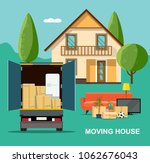 new house for family. moving... | Shutterstock .eps vector #1062676043