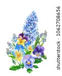 bouquet of violets  hyacinth...   Shutterstock . vector #1062708656