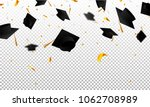 graduate caps and confetti on a ... | Shutterstock .eps vector #1062708989