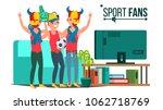 sport fans group vector. fan... | Shutterstock .eps vector #1062718769