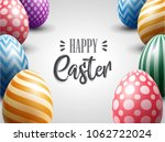 easter greeting card with... | Shutterstock .eps vector #1062722024