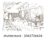 freehand sketch of backyard... | Shutterstock .eps vector #1062726626