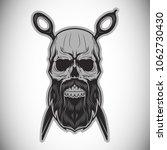 the bearded barber skull with... | Shutterstock .eps vector #1062730430