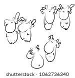 elk illustrations. cartoon... | Shutterstock .eps vector #1062736340