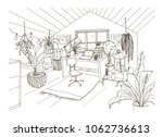 monochrome drawing of cozy... | Shutterstock .eps vector #1062736613