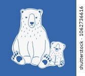 angry mother and sad baby polar ... | Shutterstock .eps vector #1062736616
