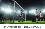 soccer game moment  on... | Shutterstock . vector #1062739379