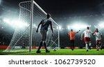 soccer game moment  on... | Shutterstock . vector #1062739520