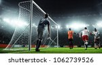 soccer game moment  on... | Shutterstock . vector #1062739526
