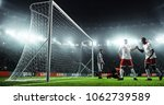 soccer game moment  on... | Shutterstock . vector #1062739589