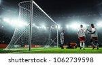 soccer game moment  on... | Shutterstock . vector #1062739598