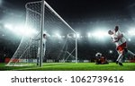 soccer game moment  on... | Shutterstock . vector #1062739616