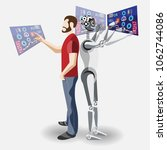 human vs robot  rpa  automation ... | Shutterstock .eps vector #1062744086