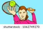 a girl tennis player is about... | Shutterstock .eps vector #1062749270