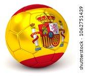 soccer ball with spanish flag... | Shutterstock . vector #1062751439