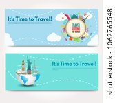 it s time to travel.trip to...   Shutterstock .eps vector #1062765548