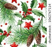 seamless pattern with christmas ... | Shutterstock .eps vector #1062767114