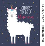 llama unicorn cute card with... | Shutterstock .eps vector #1062776459