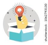 hand bulb outside the box.... | Shutterstock .eps vector #1062793130