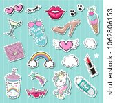 fashion patch badges with... | Shutterstock .eps vector #1062806153