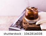 iced coffee in glasses with... | Shutterstock . vector #1062816038