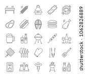 barbecue linear icons set. bbq. ... | Shutterstock . vector #1062826889