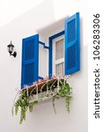 Blue Vintage Windows In Greek...