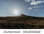 The Old Man of Storr and other rock pinnacles on Isle of Skye, Scotland, on a sunny spring day