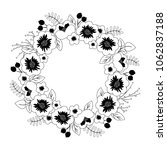 decorative wreath of flowers ...   Shutterstock .eps vector #1062837188