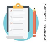 checklist with clipboard and... | Shutterstock .eps vector #1062838049