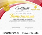 certificate template with wave... | Shutterstock .eps vector #1062842333