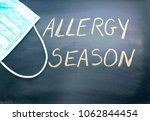 Small photo of Allergy season handwritten on black chalkboard and a green blue medical face mask. Atopy or allergy season concept or background