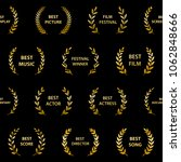 golden film award wreaths.... | Shutterstock .eps vector #1062848666